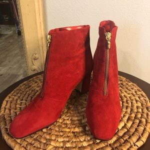 Gorgeous Red, Nine West Zip Up Ankle Boots!